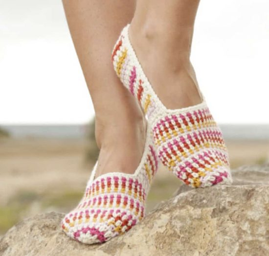 Crochet Striped Slippers Free Pattern