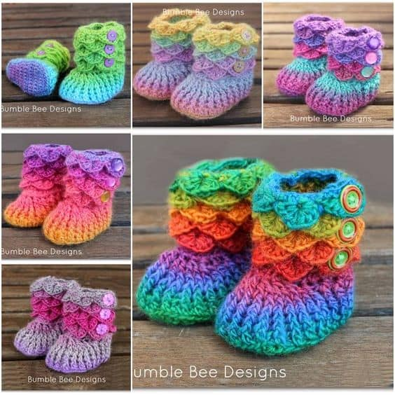 Crocodile Stitch Baby Booties
