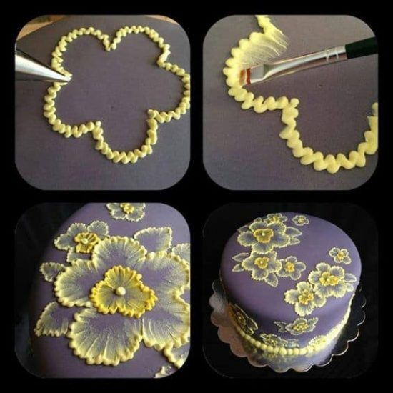 Diy Brush Embroidery Cake Icing Decorating