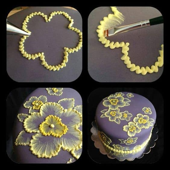Brush Embroidery Cake Flowers and Template Ideas