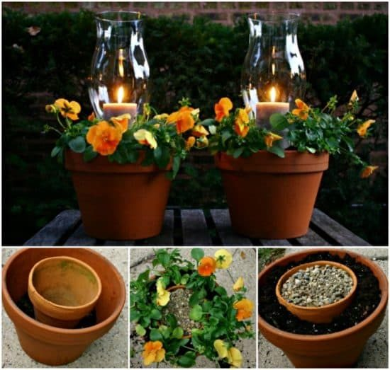 Flower Pot Votive Candle Holders