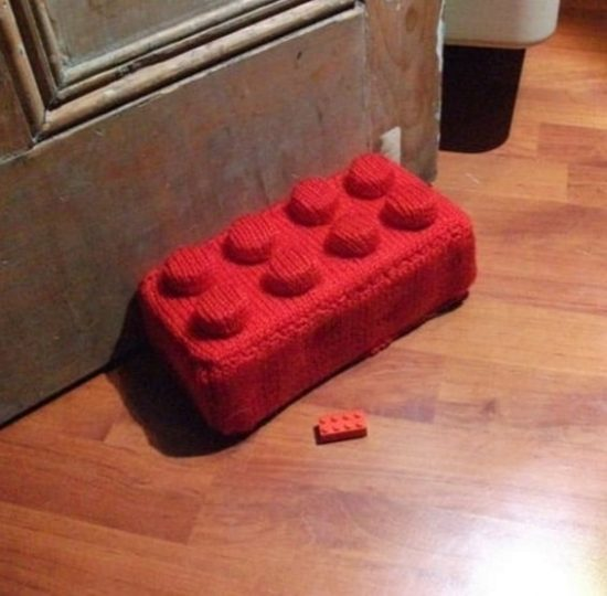 Giant Knitted Lego Brick Doorstop Free Pattern