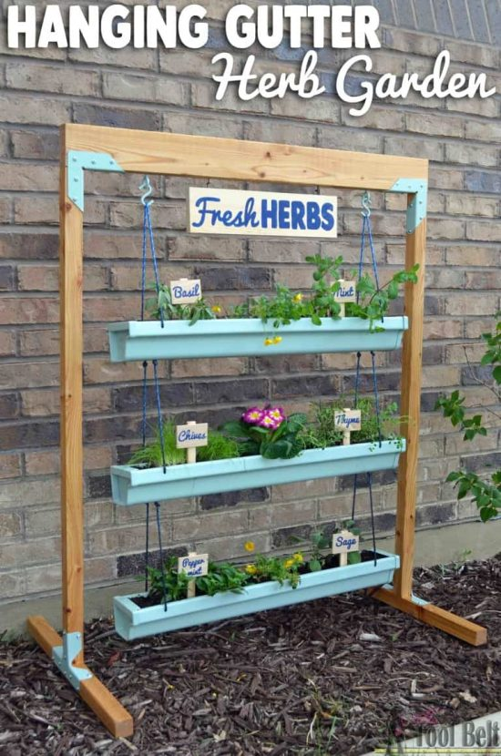 How To Make A Hanging Herb Gutter Garden The Whoot