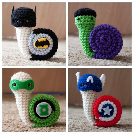 Crochet Superhero Snails