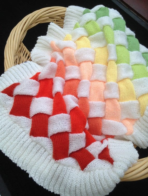 Entrelac Knitted Baby Blanket Pattern