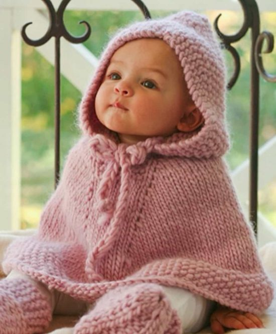 Child S Poncho Knitting Pattern : Knitted hooded baby poncho pattern free the whoot