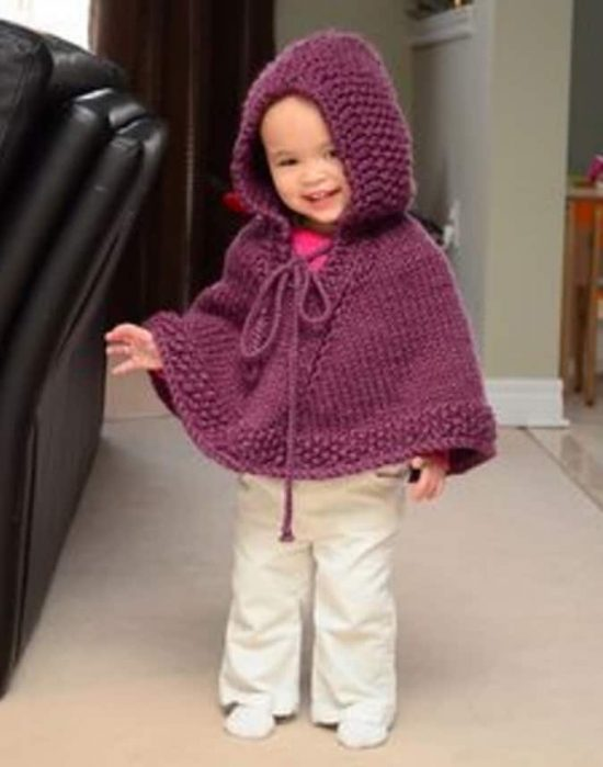 Knitted Hooded Baby Poncho Pattern Free | The WHOot