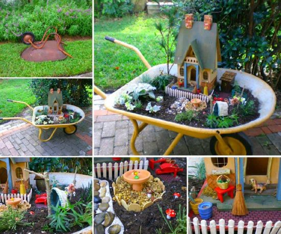 Etonnant Wheelbarrow Fairy Garden Ideas