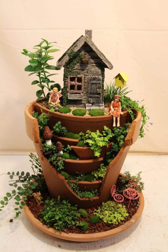 Broken Pot Fairy Garden