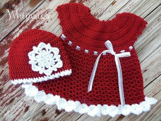 Crochet Baby Santa Dress Pattern the whoot