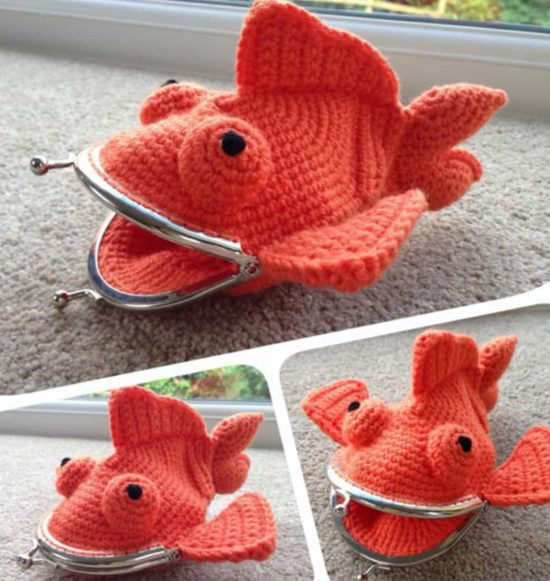 Crochet Goldfish Coin Purse Etsy