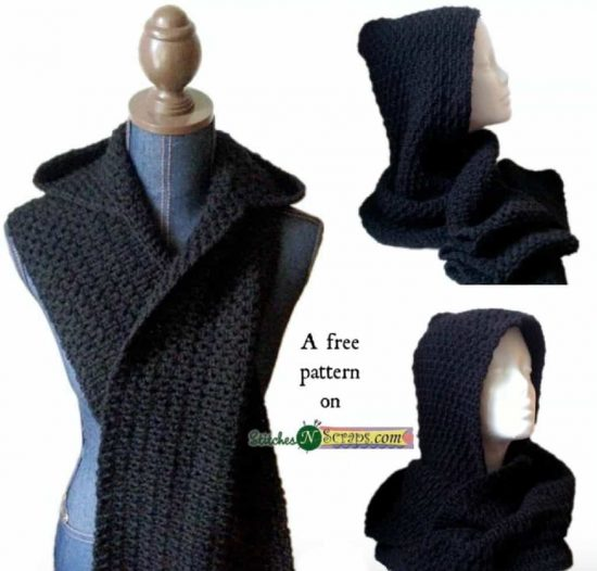 Crochet Hooded Scarf Free Pattern
