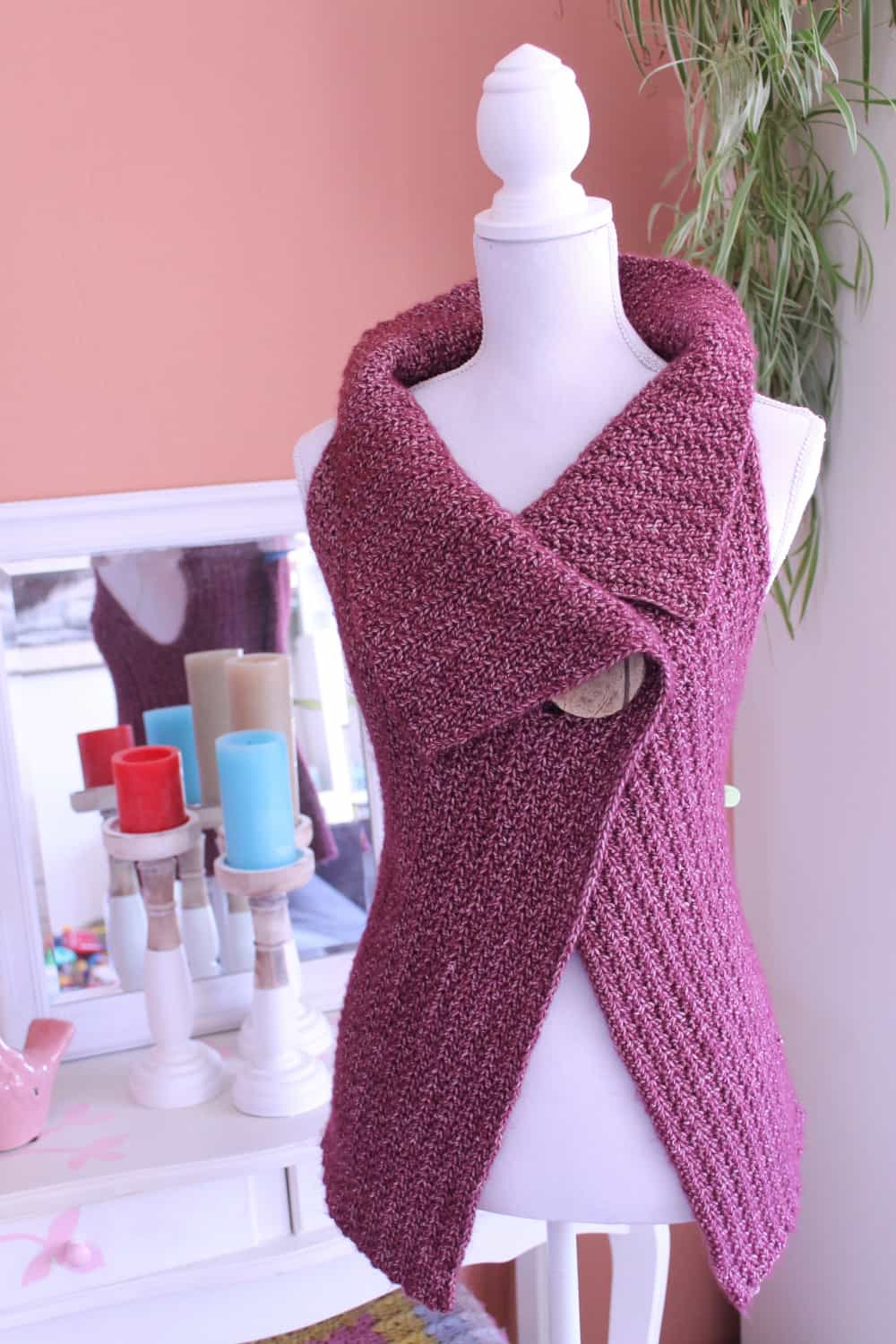 Crochet Peekaboo Button Wrap Free Pattern