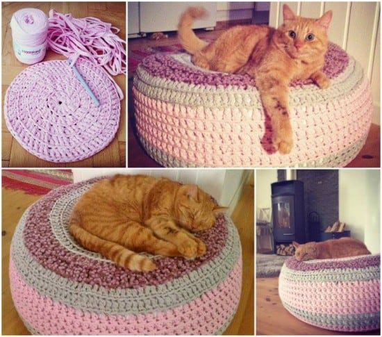 Crochet pet bed free pattern all the best ideas for How to make a cat bed easy