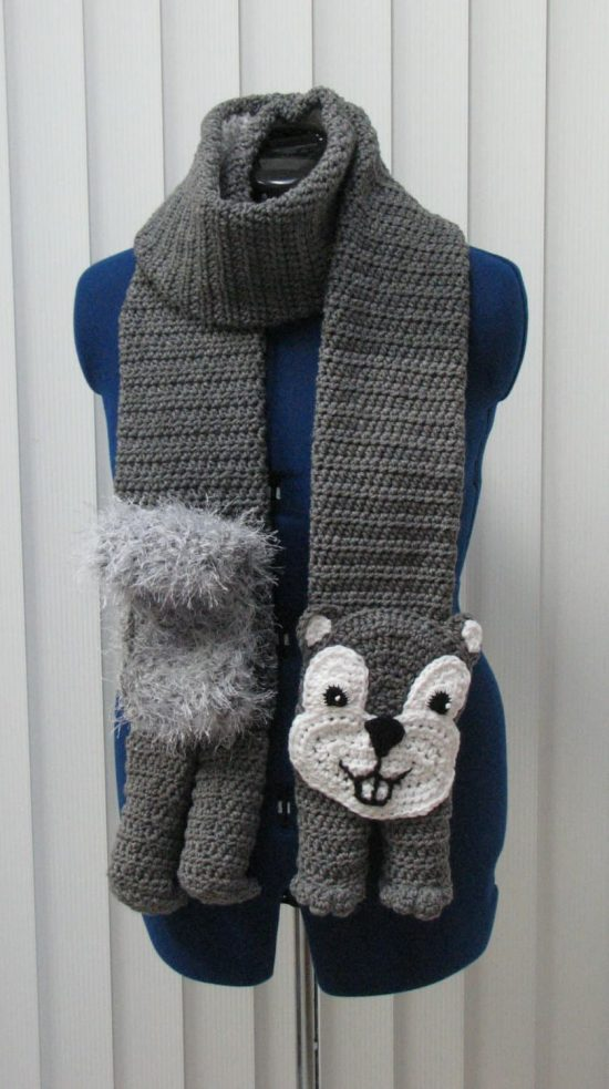 Crochet Squirrel Scarf Pattern