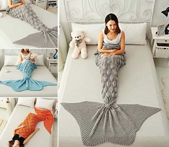 Knitted Mermaid Crochet Blanket