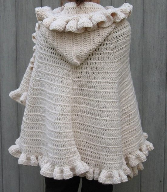 Ruffled Hooded Cape Free Crochet Pattern