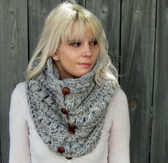 Crochet Button Up Cowl Etsy