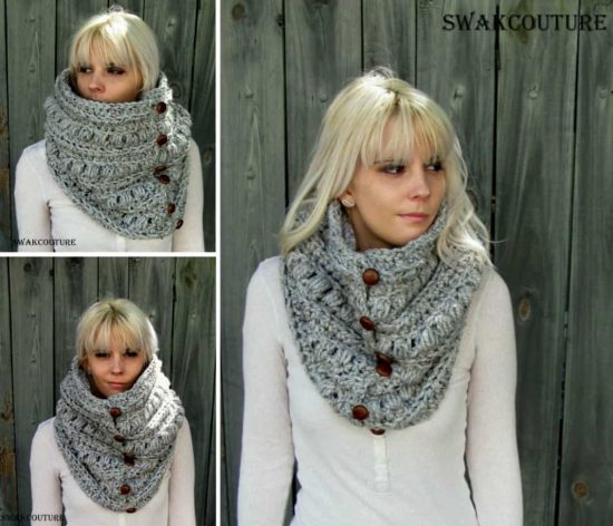 Crochet Button Up Cowl Pattern