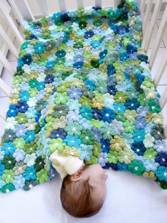Crochet Flower Puff Blanket Free Pattern