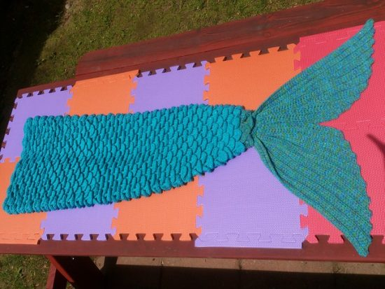 Crocodile Stitch Mermaid Tail Blanket Free Pattern