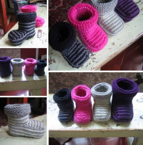 Knitted Striped Baby Booties
