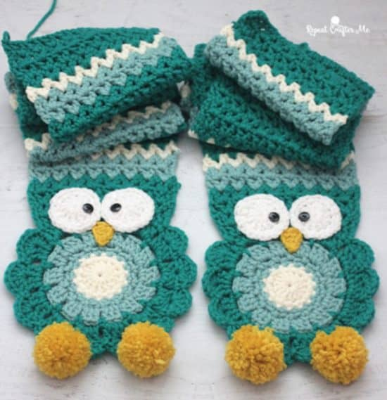 Crochet Owl Scarf Free Pattern And Video The Whoot