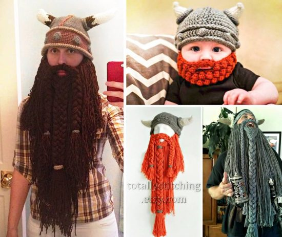 41e3e157ecb Crochet Viking Hat With Beard Free Pattern Video Tutorial