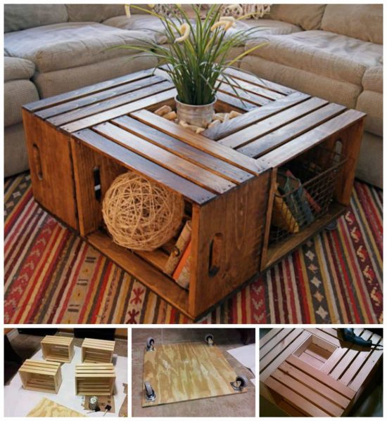Crate Coffee Table DIY