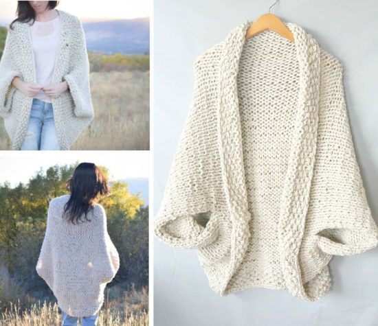 Easy Knit Shrug Pattern : Cocoon Shrug Knitting Pattern Free Tutorial Super Easy