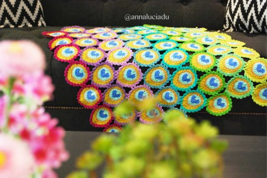 Peacock Baby Blanket Crochet Pattern