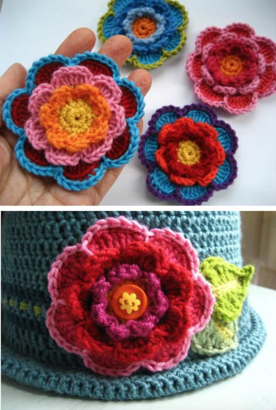 Triple Layer Crochet Flower Tutorial