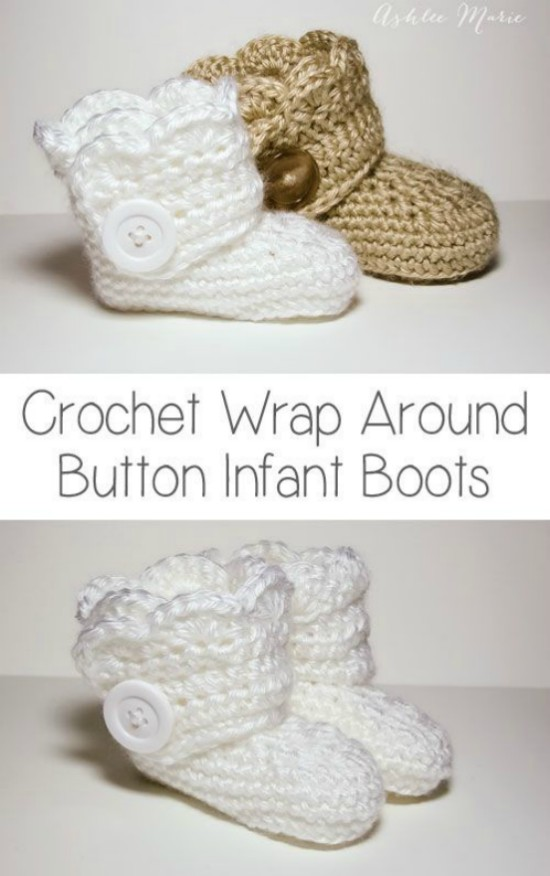 Crochet Button Baby Booties Free Pattern With Video Tutorial
