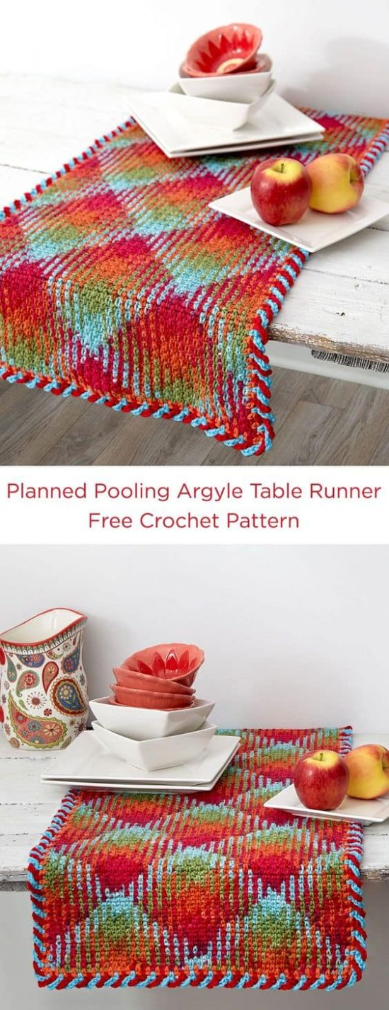 Crochet Color Pooling Table Runner