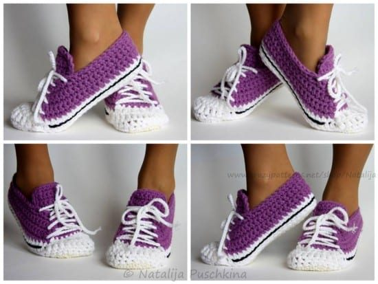 912d2c29630c Converse Free Crochet Patterns via Craft Gossip. Crochet Sneaker Slippers  Pattern