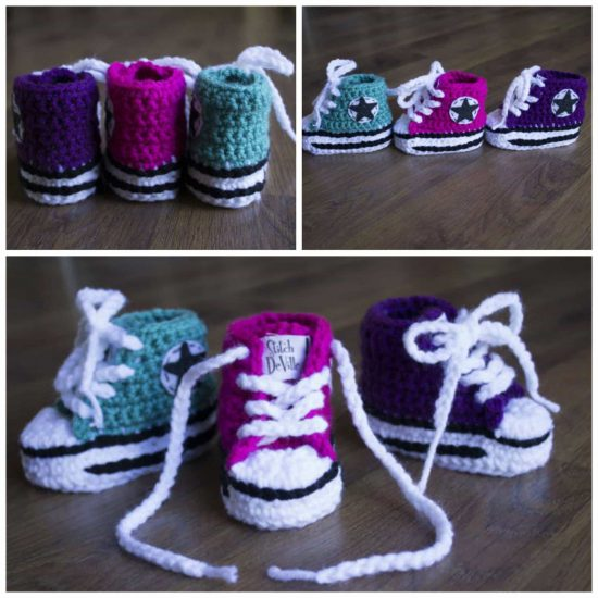 c8f53d001f3b Crochet Converse Baby Booties Pattern Free Video Tutorial