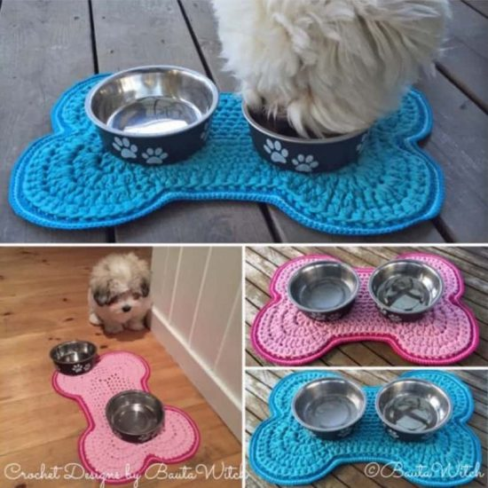 Dog Bone Pet Rug: Crochet Dog Bowl Mat Pattern Free Tutorial Bone Shaped Design