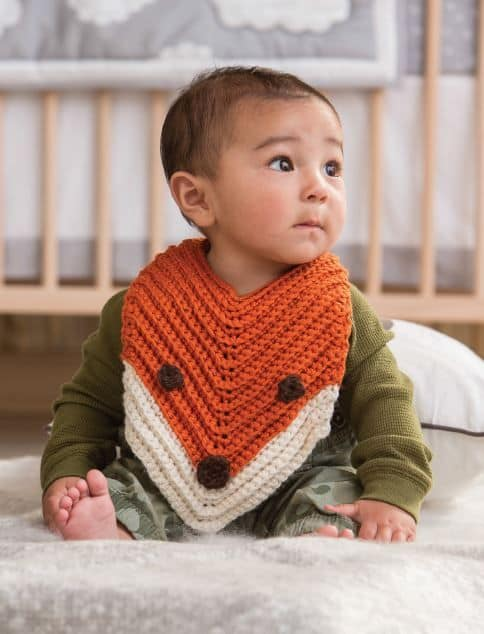Crochet Fox Bib Free Pattern