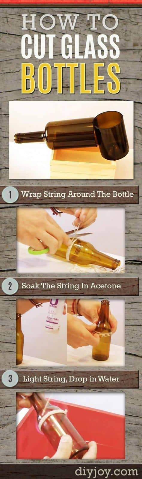 Wine bottle succulent planter easy diy video tutorial for Easy way to cut wine bottles