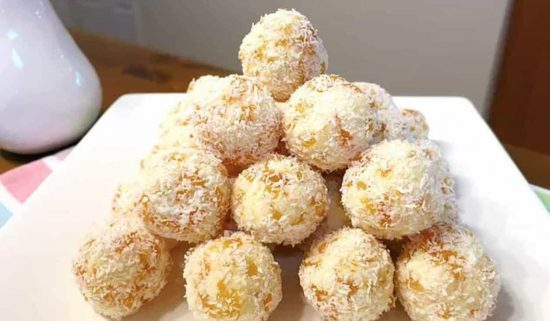 White Chocolate Coated Apricot Balls