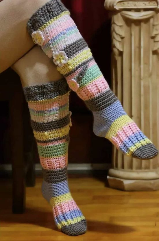 crochet knee high socks free pattern 1