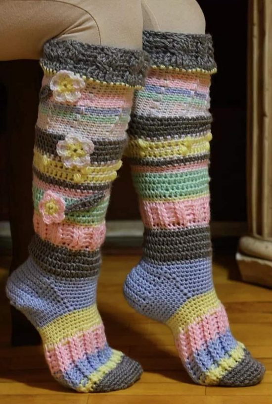crochet knee high socks free pattern 2