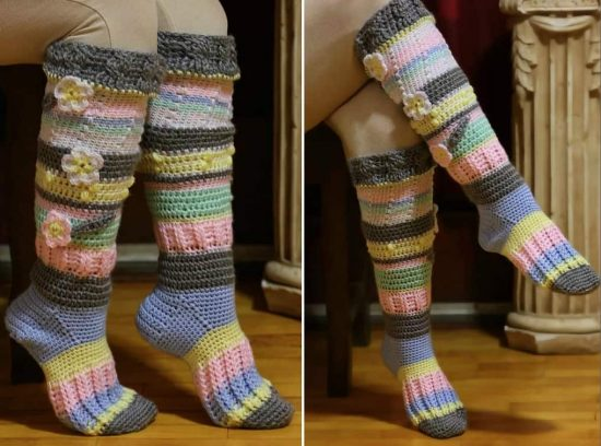 crochet knee high socks free pattern