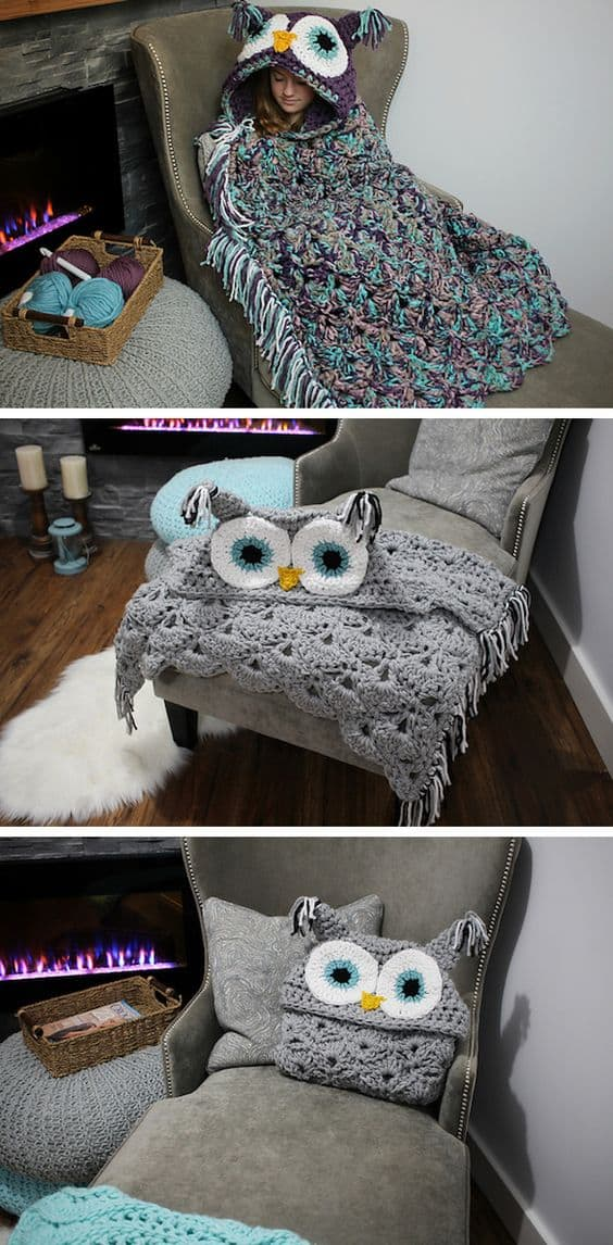 crochet owl hooded blanket pattern