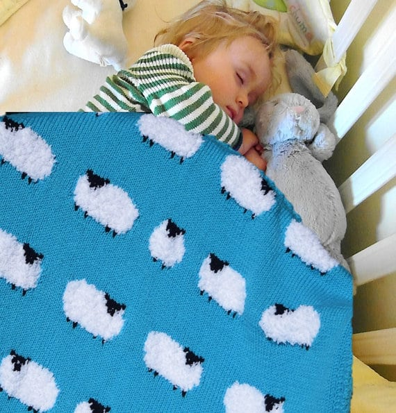 knitted sheep baby blanket pattern