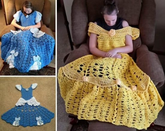 Crochet Princess Dress Blanket Pattern