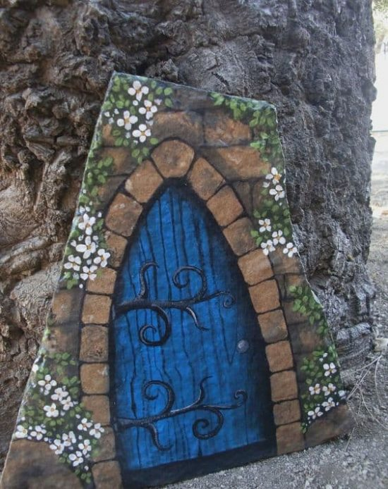 Painted rock fairy houses pinterest top pins best ideas for Painted fairy doors