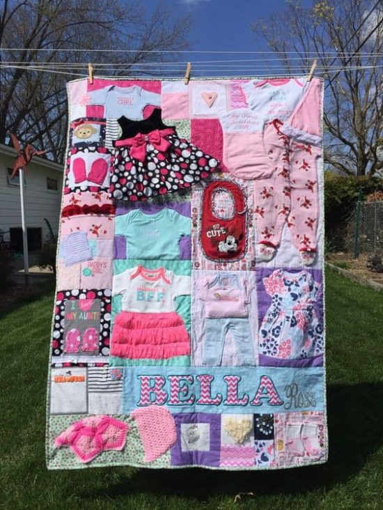 Diy baby clothes memory quilt pattern video tutorial for How to make a quilt template