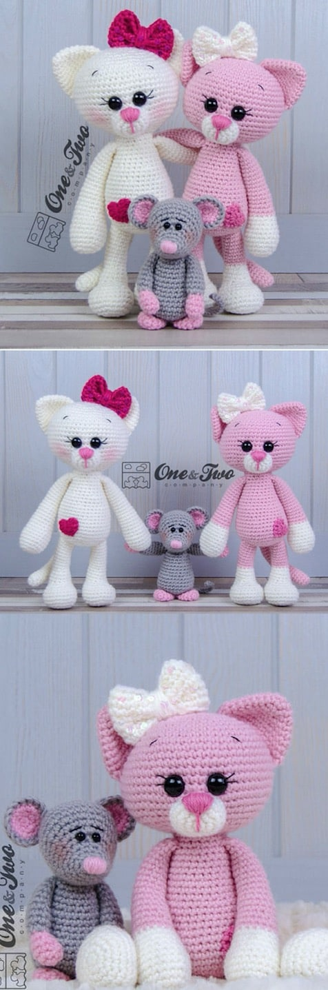 Amigurumi Cat Crochet Pattern Easy Video Tutorial | 1436x476