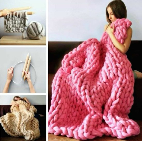 Chunky Knit Blanket Pattern Yarn Video Tutorial Diy